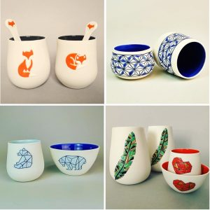 Céramiques gobelets, bols, magnets, vase – Camille BO